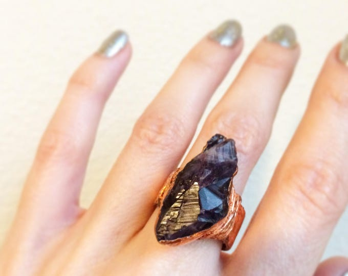 Raw Brazilian Amethyst with Rose Gold Leaf Ring, Size 5.75