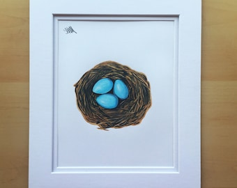Wall art drawing, bird nest drawing, original drawing, colored pencil drawing, 11x14 drawing, housewarming gift