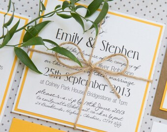Bird Print Yellow Rustic Twine Wedding Invitations And Stationery