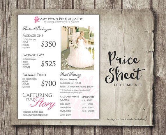 Wedding Price Sheet Photography Template  Photographer Price List
