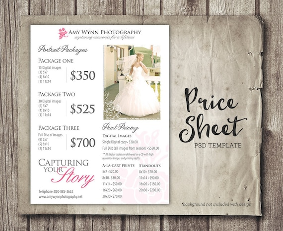 Wedding Price Sheet Photography Template   Photographer Price List    Marketing   Photoshop Template Photography Packages   INSTANT DOWNLOAD From  ...