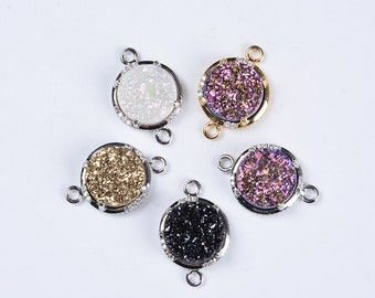 12*12mm Gold/Sliver Plated Round Rainbow Natural Agate Druzy Connector Pendant Double Loops Sparkly Drusy Connector