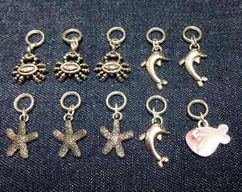 Sea creatures stitch markers/progress keepers