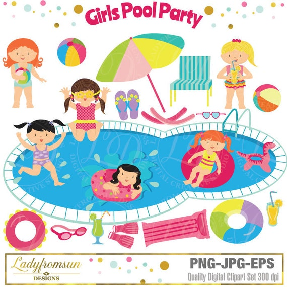girls pool party clipart pool party clip art summer party rh etsy com pool party clipart pool party clipart free