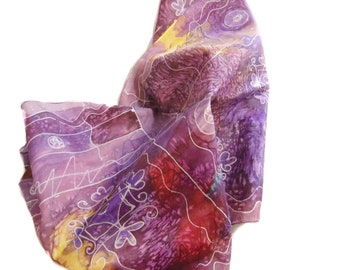 Hand-painted silk scarf, Silk scarf, gift for women,