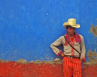 Street Art Photography, Red, White, Blue, Primary Colors, Cowboy, tough, Male, Guatemala, Fine Art Photography, 16x20 Print