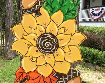 Sunflower, Fall, Autumn, Thanksgiving, Maple Leaf, Door Hanger