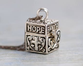Hope Faith and Love Necklace - Keepsake Locket - Sterling Silver Box Pendant and Chain -