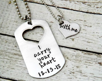 i carry your heart with me- couples necklaces-personalized necklace-couples jewelry-dogtag necklace set