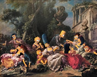 Simpsons Characters Parody Painting - Print Poster Canvas - Altered Repurposed Thrift Art Funny Simpsons Victorian Scene Artwork Parody Gift