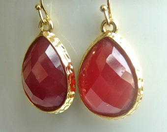 Crimson Red Faceted  Berry Red Swarovski Crystal Faceted Teardrop Bezel Drop Earrings.  Gifts For Friend. Holiday Gifts For her. 2