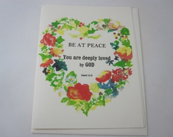 Be At Peace Greeting Card with Envelope - One Folded Card with Envelope