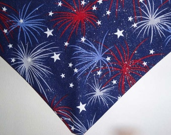 Fourth of July Fireworks Dog Bandana / Scarf over the collar, red, white and blue dog bandana