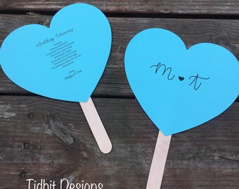 With All my Heart Personalized Heart Shaped Paddle Wedding Program Fans / Favors