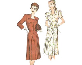 Sale! 1940s Dress Bust 32 Hollywood Sewing Pattern 1991 Sweetheart or Square Neckline Short Puffed or 3/4 Sleeves