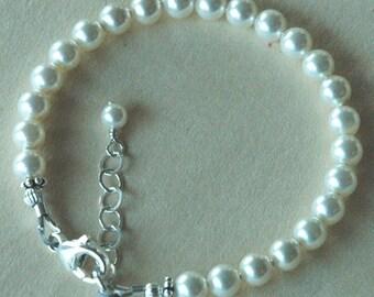Simple Swarovski Crystal Pearl Baby Girl Children Bracelet