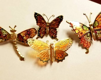 Vintage Butterfly and Dragonfly Brooches Lot of 4 Yellow, Orange, and Gold Toned Pins
