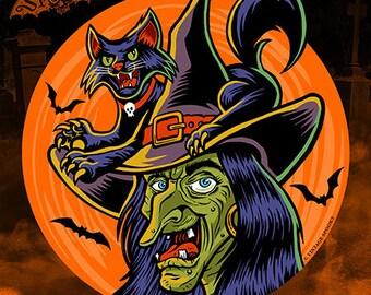 Witch Vintage Style Halloween Die Cut Decoration
