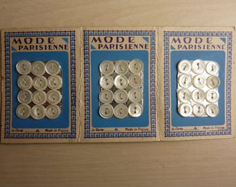 36 old Pearl buttons on 3 cards of 12 buttons 2 hole 9 mm Parisian fashion