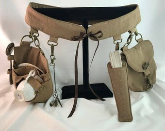 Custom Order - Undercorset Belt Set - Made to Size - Includes Undercorset Belt, Pouch, Fan Pocket, Skirt Lifters, Teacup Holster