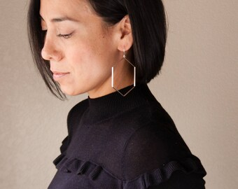 "Large statement hoop earrings in a prominent geometric hexagon shape, minimalist and striking design - ""Hexagon Hoops"""