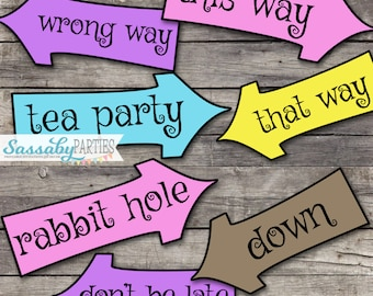 Alice in Wonderland Arrow Signs - INSTANT DOWNLOAD - Mad Hatter Tea Party Birthday Baby Shower Printable Sign Decorations