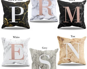 Personalised Marble Cushion, With Initials, Cushion Cover, Marble Cushion Cover, White, Black, Rose Gold, Letter, Square Pillow, Name Custom
