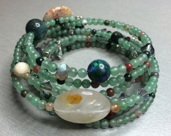 Custom-made Astrological Birthchart Gemstone Bracelet with Gemstone Degree Beads