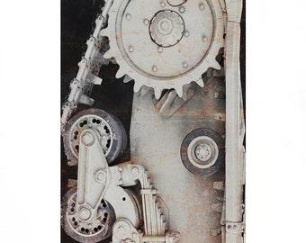 Fotografia originale monocramatica, particolare di un carroarmato.Viaggio a Bergamo. Arte da appendere per la decorazione di casa 18 x 24 cm