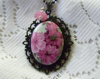 Mother's Day Azalea Cameo Necklace - Floral Porcelain Cameo Pendant - Summer Flowers - Mother's Day Gift - Flower Necklace - Gardener Gift