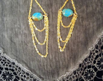 Earrings in brass with turquoise stones