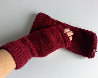 Burgundy fingerless gloves black gray