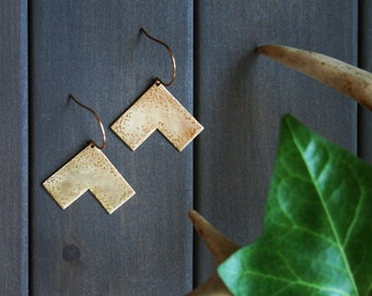 Brass statement earrings gold triangle earrings chevron earrings geometric earrings arrow earrings large big hammered jewelry -Lori Earrings