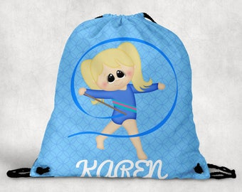 Personalized Drawstring Backpack - Gymnastics Backpack - Gymnastics Sports Bag - Personalized Kids Drawstring Bag