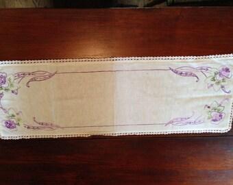 Vintage dresser scarf - embroidered purple flowers