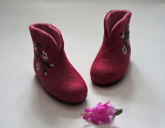 22136c76abe Pink rose Toddler girl Wool shoes Kids shoes Home
