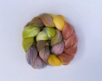 Mother Earth, hand dyed fine Merino wool top or roving , 100g