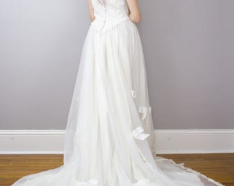 1970's boho lace and chiffon wedding gown / bows / sheer back