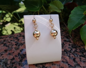 Gold Earrings, 585 gold filled, with ball