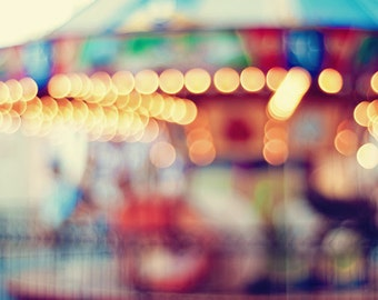Carousel Art Print - Out of Focus Fine Art Carnival Photography - Yellow Red Blue & Green - Home Decor - Colorful Gallery Art Print