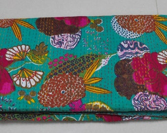 Turquoise Green Kantha Quilt In Queen Size Tropical Kantha Blanket Indian Handmade Kantha Bed cover