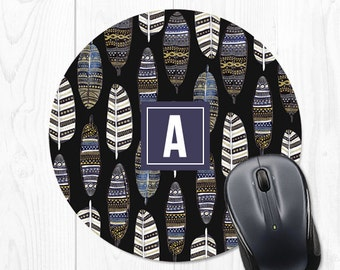 Mouse Pad Mousepad Mouse Pads Feather Mouse Pad Purple Monogram Mouse Pad Office Supplies Office Desk Accessories Office Decor Cubicle Decor