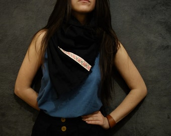 Black Linen Scarf, Handmade Scarf, Natural Fabric,  Sustainable fashion