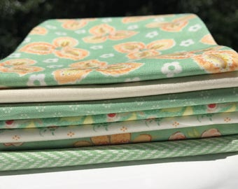 Floral Fabric, Fat Quarters,  Moda, 7 Piece Fat  Quarter Bundle in Green, 100% Cotton