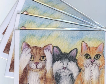 4 x ginger tabby cat greeting cards - three wise moggies