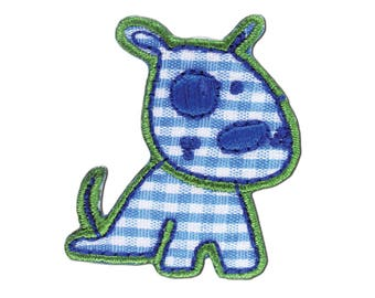 Blue Dog Iron On Applique, Dog Iron On Patch, Dog Applique, Puppy Patch, Kids Patch, Embroidered Patch
