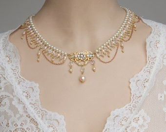 Bridal Necklace Pearls Vintage Statement Necklace Flower Pearl Bridal Choker Wedding Necklace Wedding Bridal Necklace Rhinestone Necklace