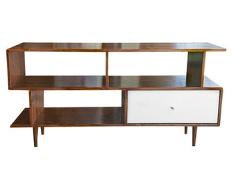 Mid Century Inspired Media Console with Drawer - MADE TO ORDER 120 days