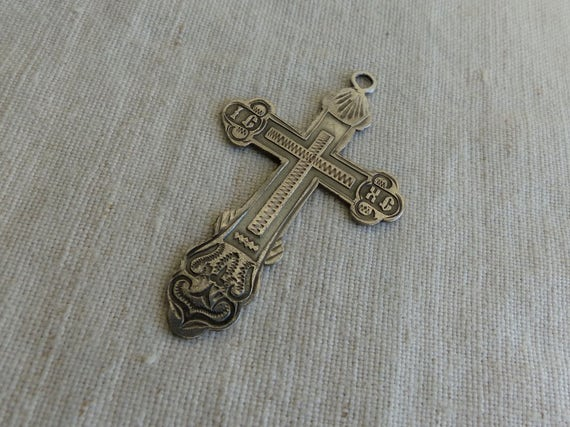 Antique 84 silver russian orthodox cross pendant sterling aloadofball Images