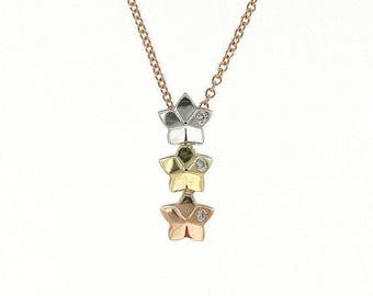 3 Star Diamond Necklace/Solid 14k White, Yellow, and Rose Gold Necklace with 0.02 Ct./Diamond Dainty Necklace/Simple Necklace